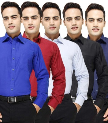 VKG Men's Solid Formal Multicolor Shirt(Pack of 5)