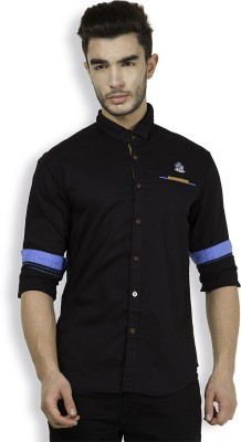 The Indian Garage Co. Men,s Self Design Casual Black Shirt