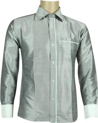 KENRICH Men's Solid Formal Silver Shirt
