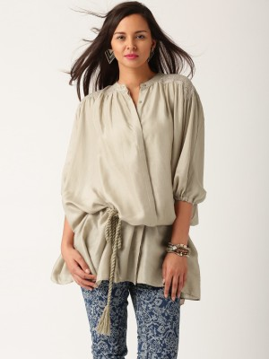 All About You Women,s Self Design Casual Grey Shirt