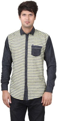 REFUEL SPORT Men's Striped Casual Yellow Shirt