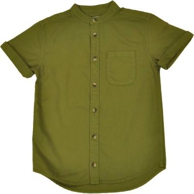 NOQNOQ Boy's Solid Casual Light Green Shirt