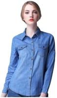 Ivy Women's Clothing - POISON IVY Women's, Girl's Self Design Casual Denim Light Blue Shirt