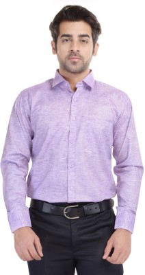 Blue Bird Men's Self Design Formal Purple Shirt