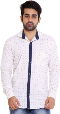 LIME TIME Men's Printed Casual White Shirt