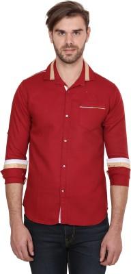 Human Steps Men's Solid Casual Maroon Shirt
