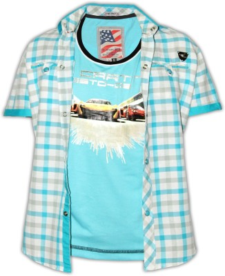 Fingerchips Boys Graphic Print Casual Blue, White Shirt