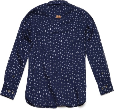WROGN Boy's Printed Casual Dark Blue Shirt