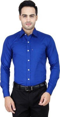 Cotton Clubs Men's Solid Formal Blue Shirt