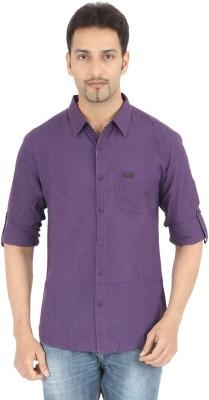 Spykar Men's Solid Casual Purple Shirt