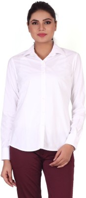 Valeta Women's Solid Formal White Shirt