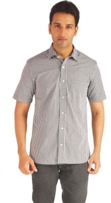 Sterling Men's Checkered Formal Black Shirt