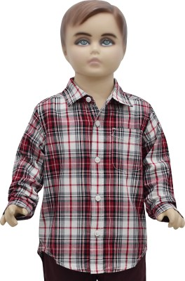 Urban Forest Boy's Checkered Casual Red Shirt