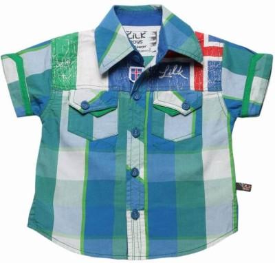 Little Kangaroos Boy's Checkered Casual Reversible Green Shirt
