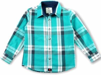 Cherry Crumble California Baby Boy's Checkered Casual Light Green, Black Shirt