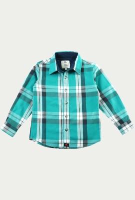Cherry Crumble California Boy's Checkered Casual Light Green, Black Shirt