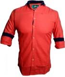 Qube Men's Self Design Casual Orange Shi...