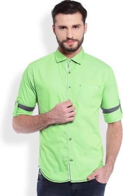 Skie Studio Men's Solid Casual Green Shirt