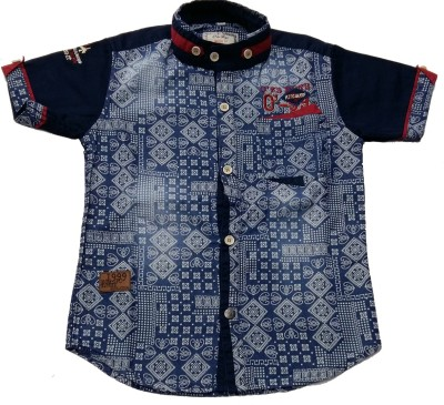 Pogo Boys Printed Casual Blue Shirt