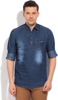 High Star Men's Solid Casual Blue Shirt