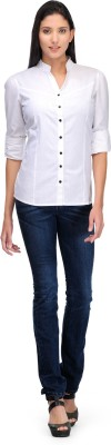 Rockland Life Women's Solid Formal White Shirt