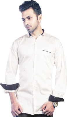 Bombay Casual Jeans Men's Solid Casual White Shirt