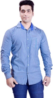 Krazzy Collection Men's Striped Casual Blue, Green Shirt