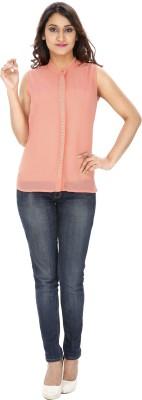 Franclo Women's Solid Formal Pink Shirt