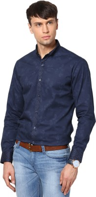See Designs Men,s Printed Casual Blue Shirt