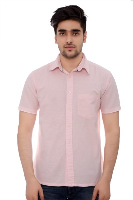 Parv Collections Men's Solid Formal Pink Shirt