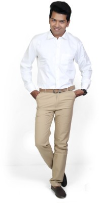 Cairon Men's Solid Formal White Shirt