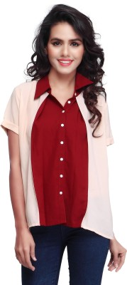SFDS Women's Self Design Casual, Formal, Party Red Shirt
