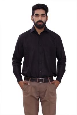 ALLANZO Men's Solid Formal Reversible Black Shirt