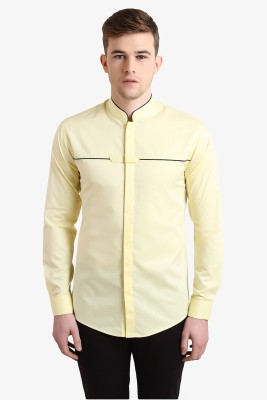 Alvin Kelly Men's Solid Casual Yellow Shirt