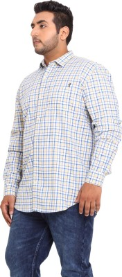 John Pride Men's Checkered Casual Yellow Shirt