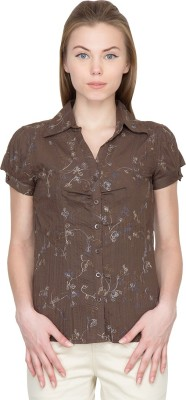 Species Women,s Floral Print Casual Brown Shirt
