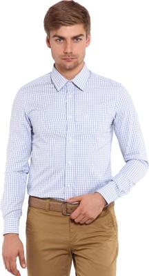 Classic Polo Men's Checkered Formal White, Blue Shirt