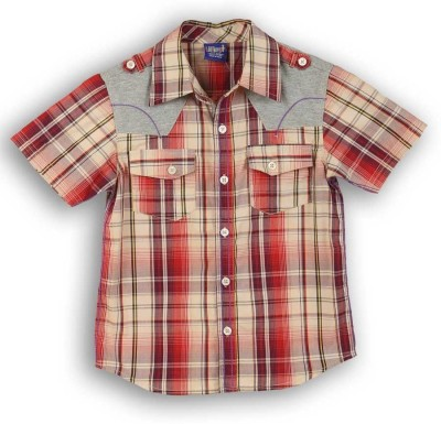 Lilliput Boy,s Checkered Casual Orange Shirt