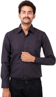 Shiksha Men's Solid Formal Black Shirt