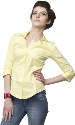 Adam n Eve Women's Solid Formal Yellow Shirt