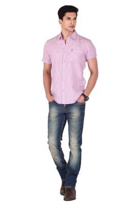 Vintage Soul Men's Striped Casual Linen Pink Shirt
