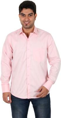 Green Apple Men's Solid Formal Pink Shirt