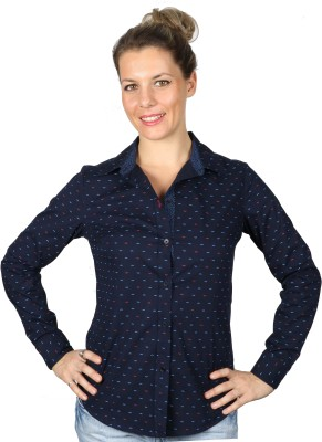 Ir Apparels Women's Printed Casual Dark Blue Shirt