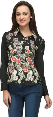 Vemero Clothings Women's Floral Print Party Black Shirt