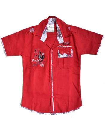 British Terminal Boy's Self Design Casual Red Shirt