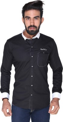 Royal Front Men's Solid Formal, Casual, Party, Festive, Wedding Black Shirt