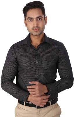 Regza Men's Checkered Formal Black Shirt