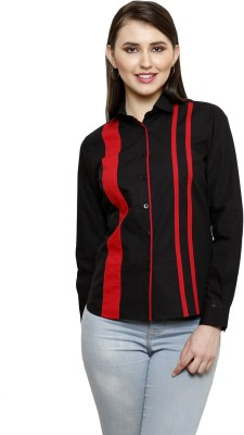 see Designs Women's Solid Casual Black Shirt