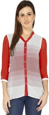 Goddess Women Women's Polka Print Casual Red Shirt