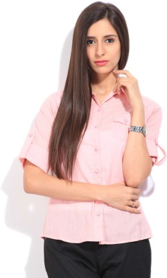 STYLE QUOTIENT BY NOI Women's Striped Formal Pink Shirt